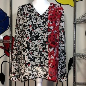 Calvin Klein Women Long Sleeve Floral Blouse